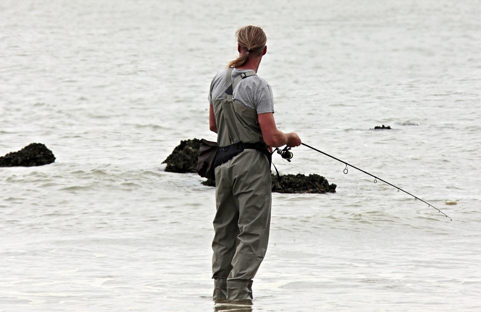 Angler, Fish, North Sea, Waters, Fisherman, Sea, Beach