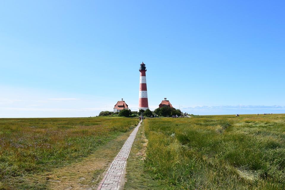 Lighthouse, Westerhever, North Sea, Mecklenburg