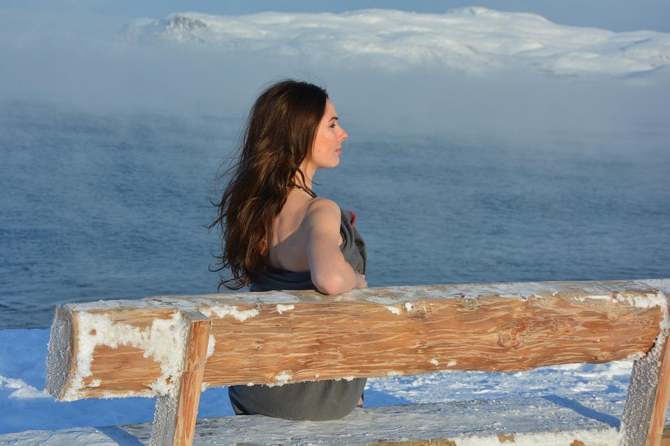 North, Winter, Girl, Beautiful Girl, Snow, Cold, Ocean