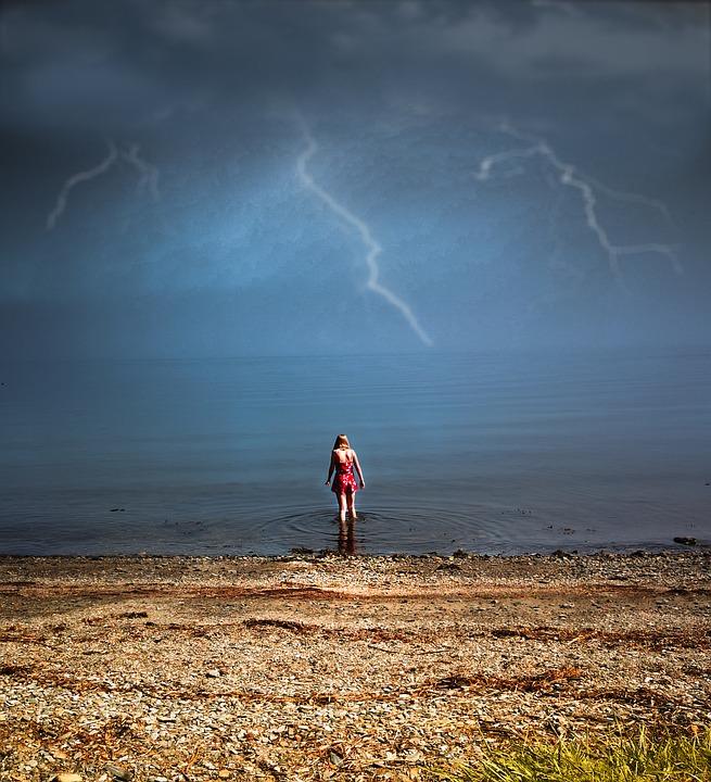 Storm, In, Norway, North, Lightning, Girl, Dress