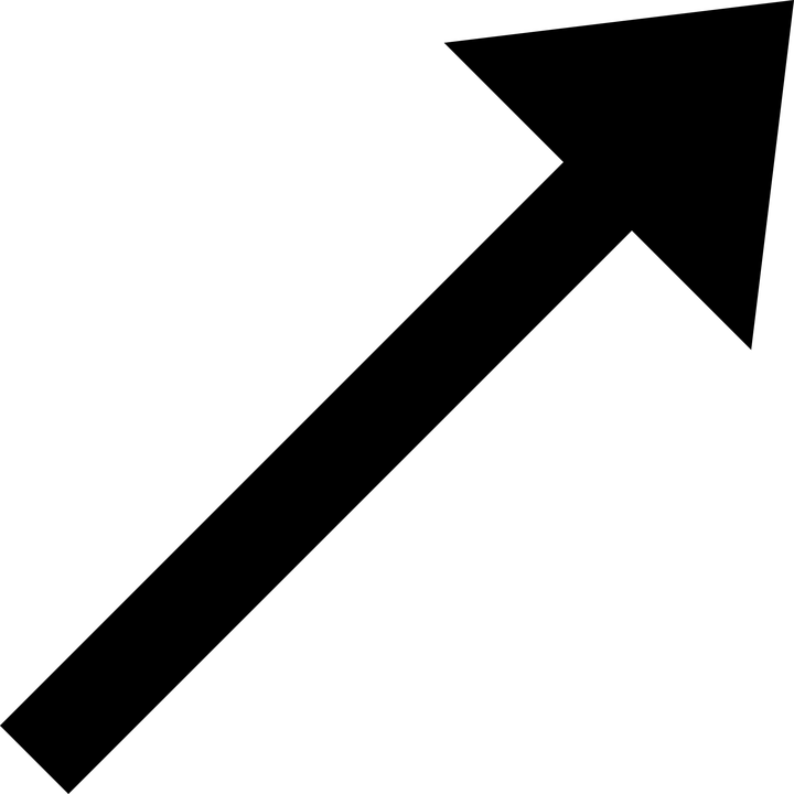 Arrow, Pointing, Right, North, Black, Northeast