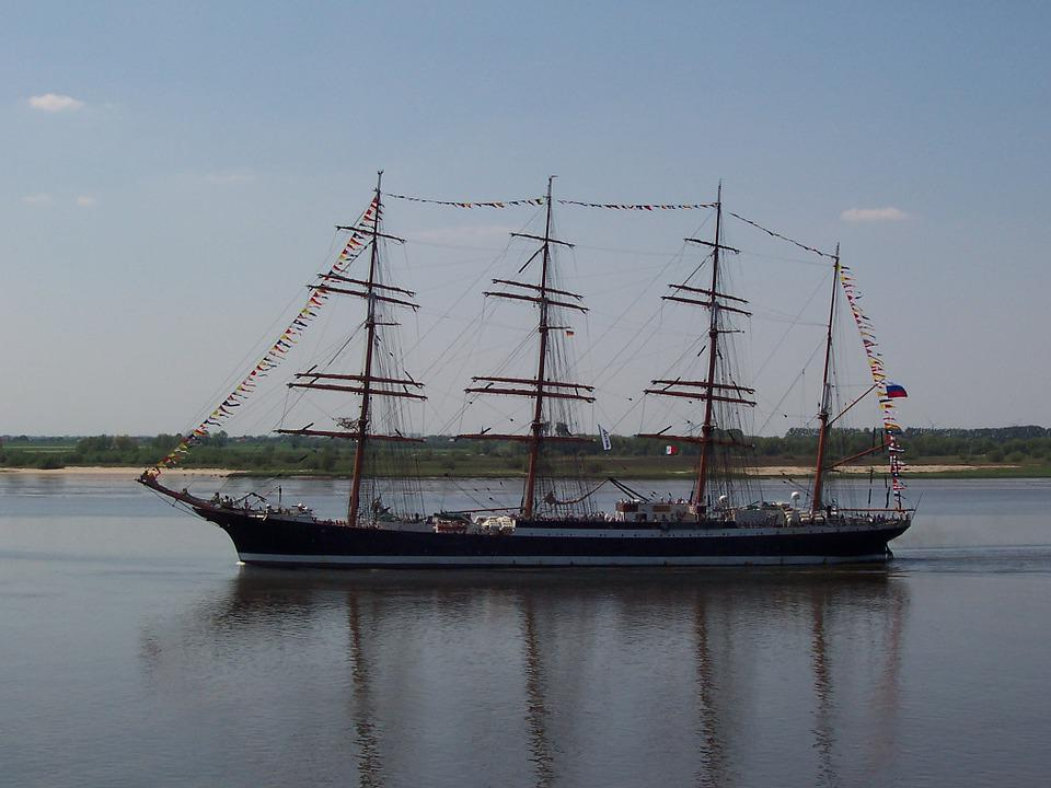 Three Masted, Elbe, Northern Germany, Maritime