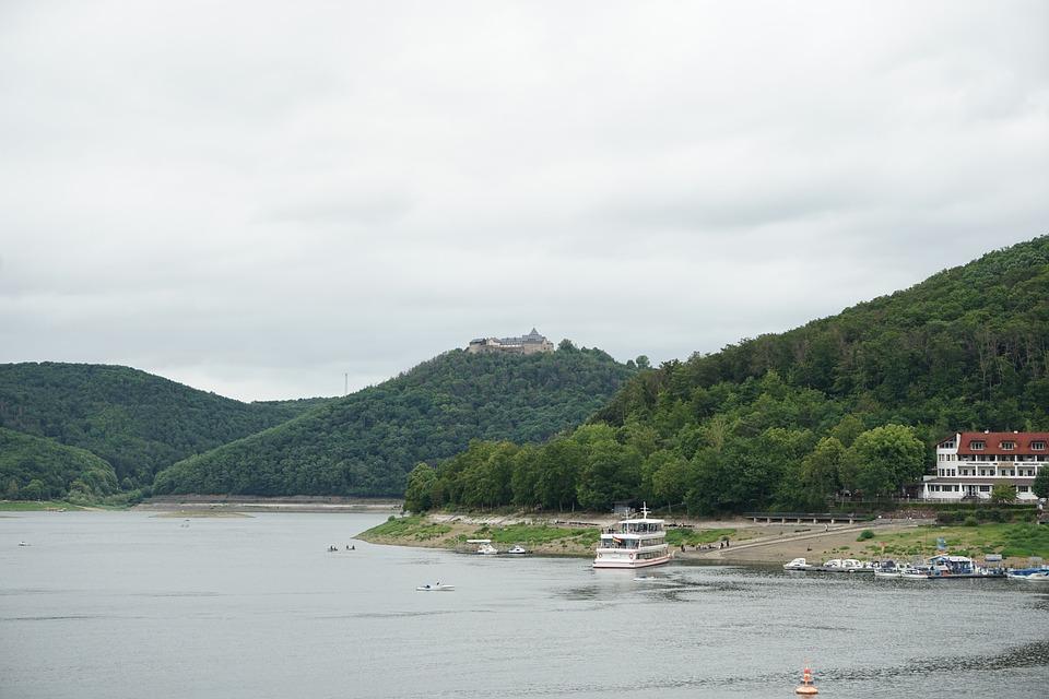 Edersee, Waldeck, Schloss Waldeck, Dam, Northern Hesse