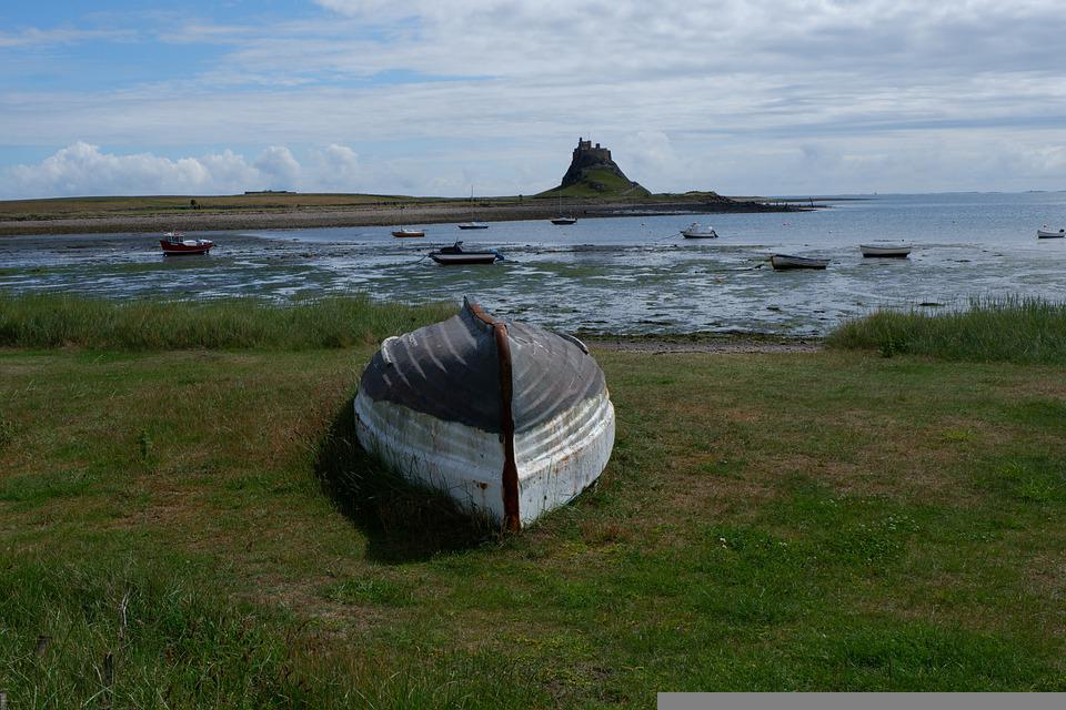 Boat, Castle, Coast, Sea, Northumberland