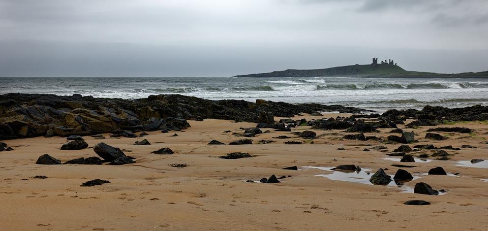 Seashore, Northumberland, Ocean, Landscape, Coastline