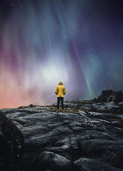 Man, Aurora, Polar Lights, Norway, Fjord