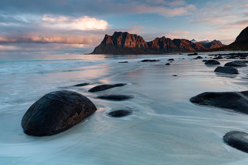 Beach, Rock, Sunset, Water, Sea, Coast, Lofoten, Norway