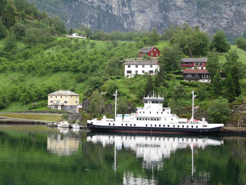 Ship, Norway, Docked, Shoreline, Coast, Fjord