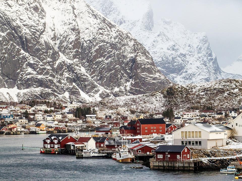 Mountain, Port, House, Reine, Lofoten, Norway
