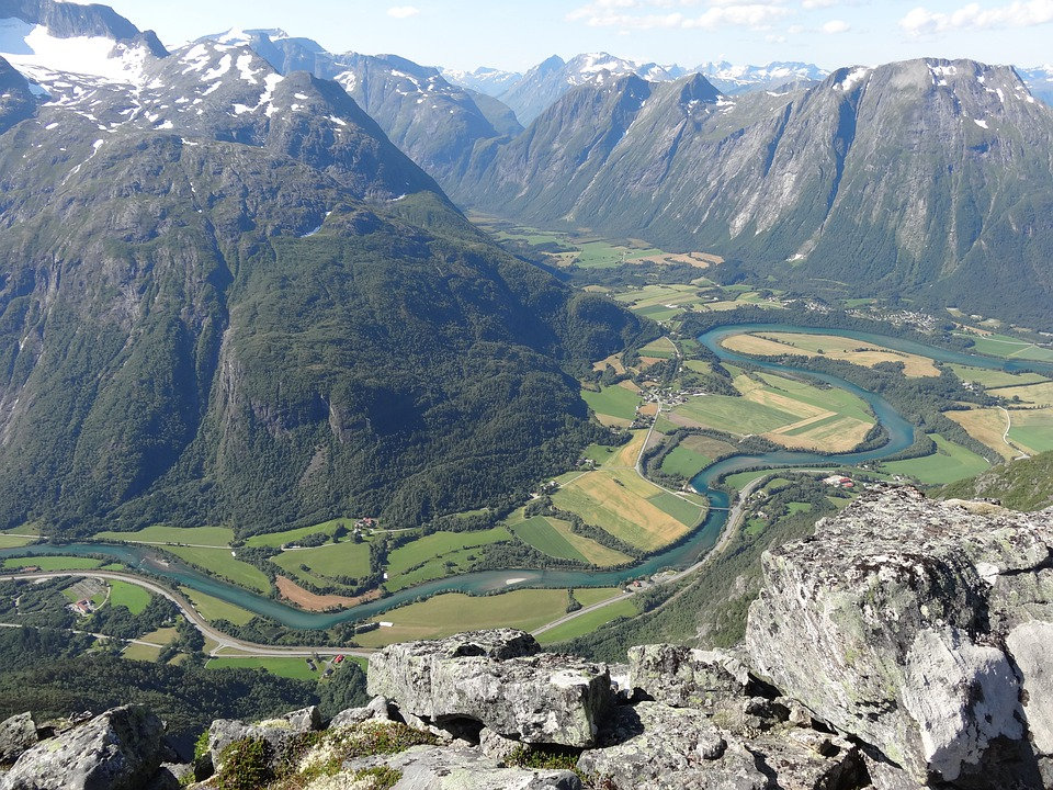 Mountain, Nature, Valley, River, Norway, From Above
