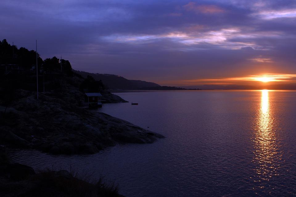 Oslofjord, Sunset, Oslo, Travel, Norway, Lighting