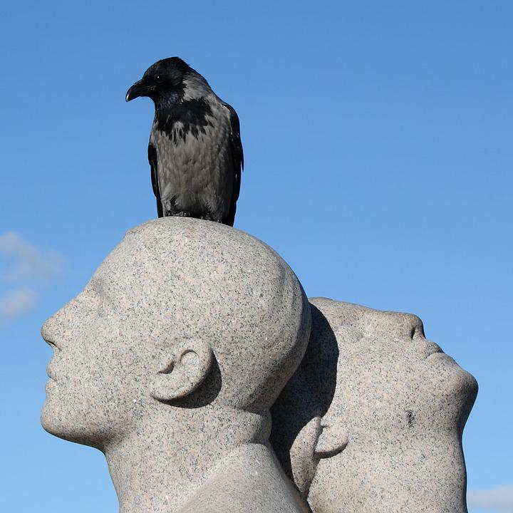 Norway, Oslo, Vigeland Park, Sculpture, Park, Crow