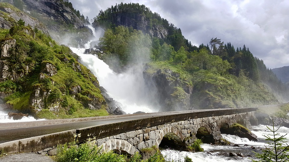 Waterfall, Norway, Scandinavia, Tourism, Landmark