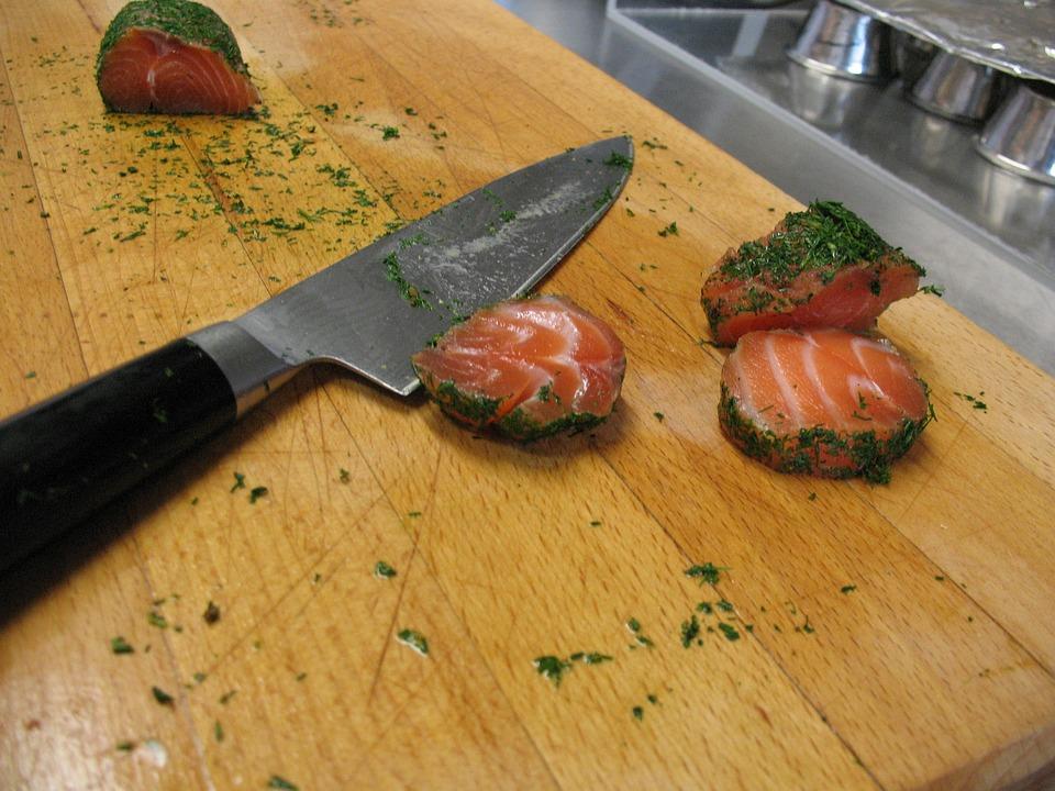 Salmon, Norway, Sea fish, Knife