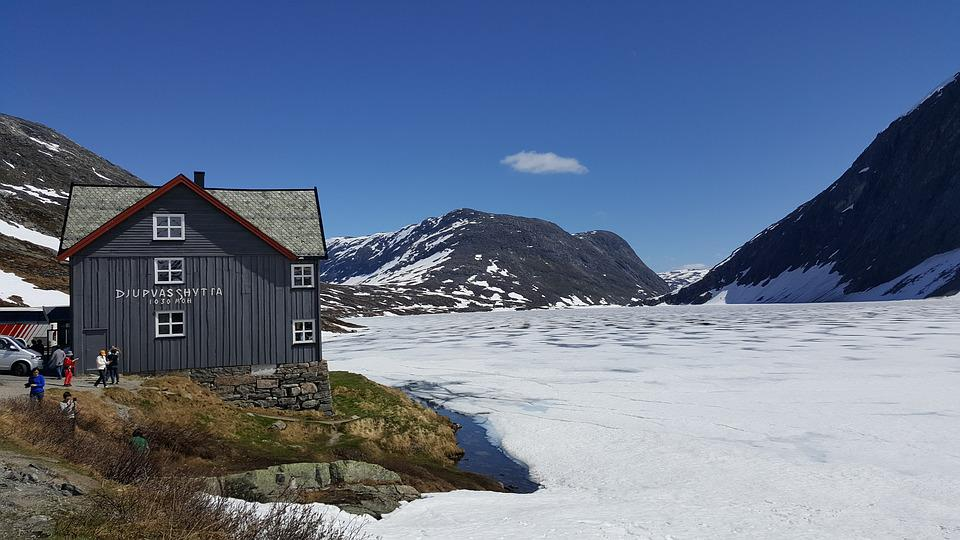 Snow, Ice, Mountain, Cabin, Norway, Cold, Frozen