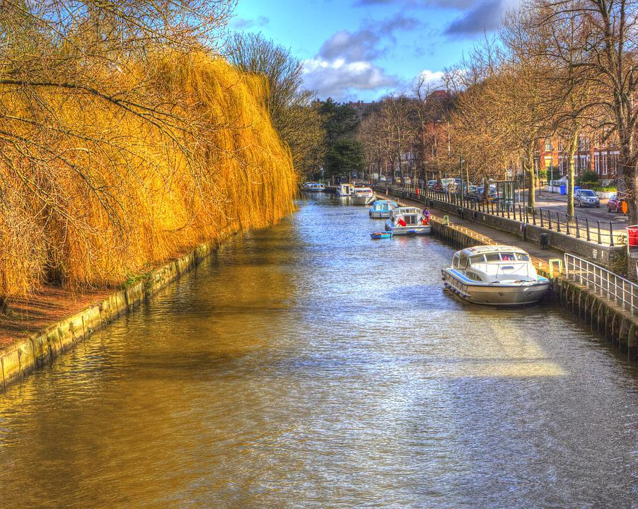 Norwich, Canal, England, Uk, Trees, Exterior, Norfolk