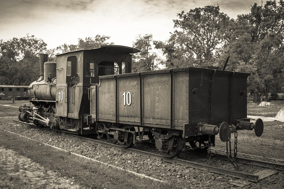 Train, Museum, Black, White, Locomotive, Nostalgia