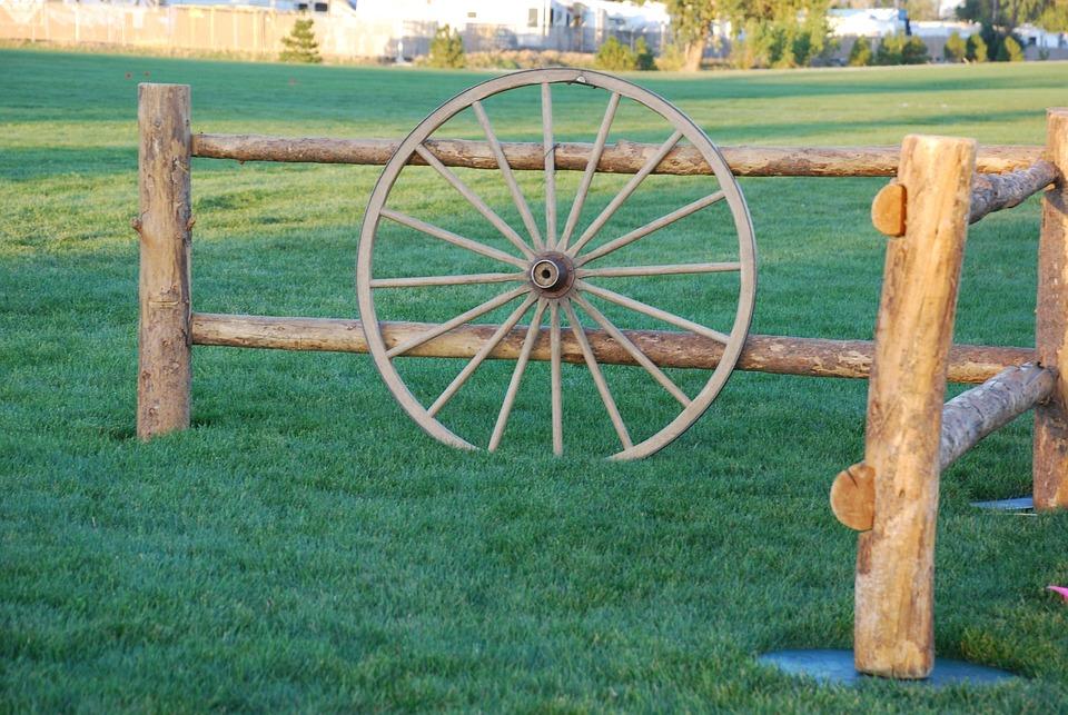 Wagon, Wheel, Old Antique, Wood, Post, Nostalgia