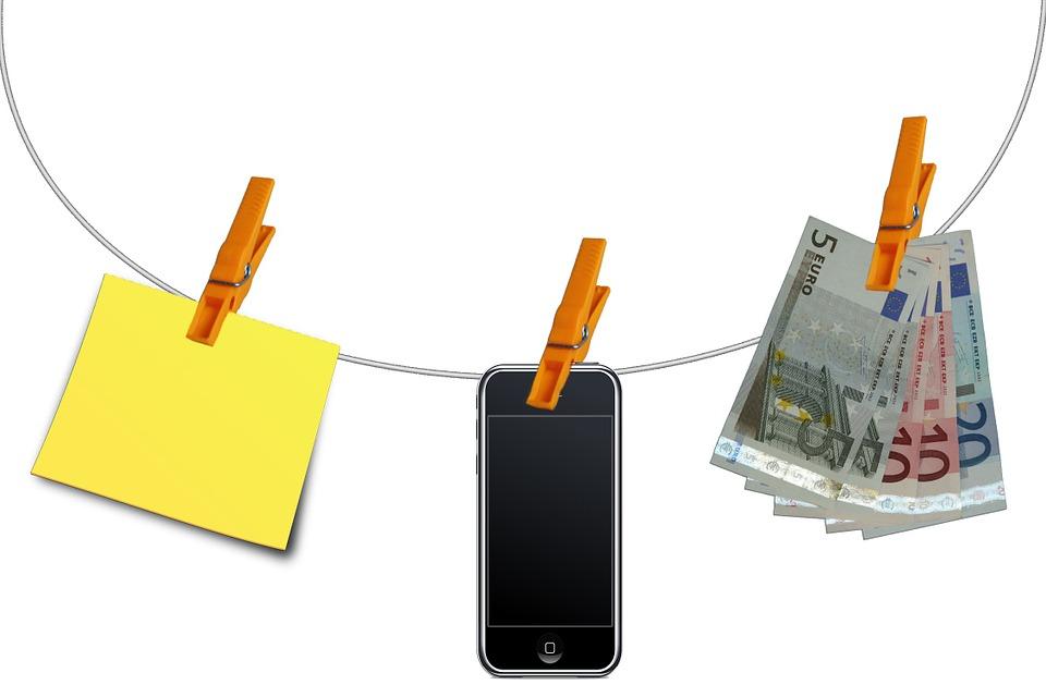 Clothes Line, Clip, Note, Mobile Phone, Euro, Seem