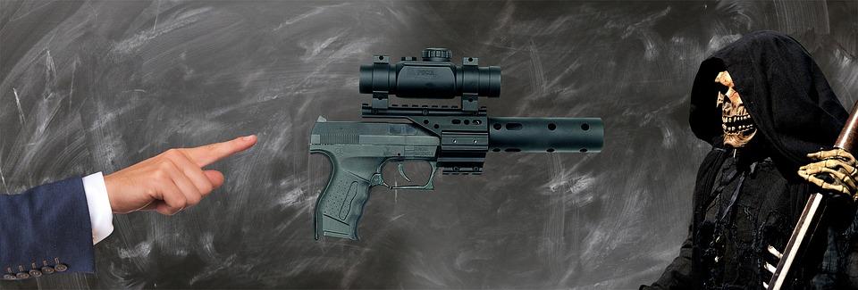 Note, Weapon, War, Death, Despair, Pistol, Symbol