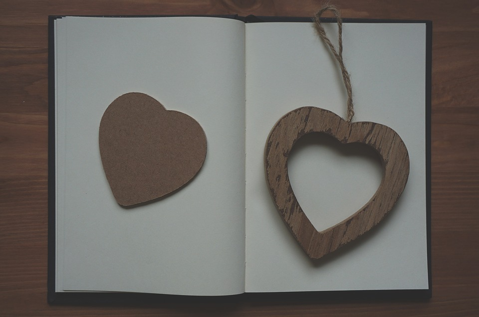 Heart, Wooden, Notebook, Table, Conceptual, Valentines