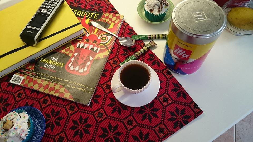 Breakfast, Cupcakes, Coffee, News, Phone, Notebook