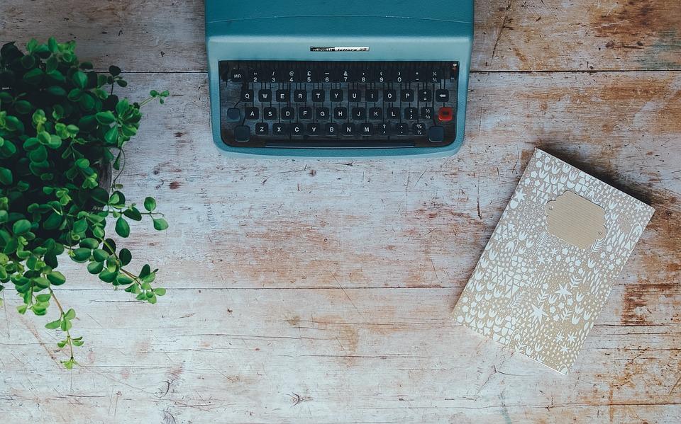 Vintage, Typewriter, Plant, Book, Notebook, Notepad