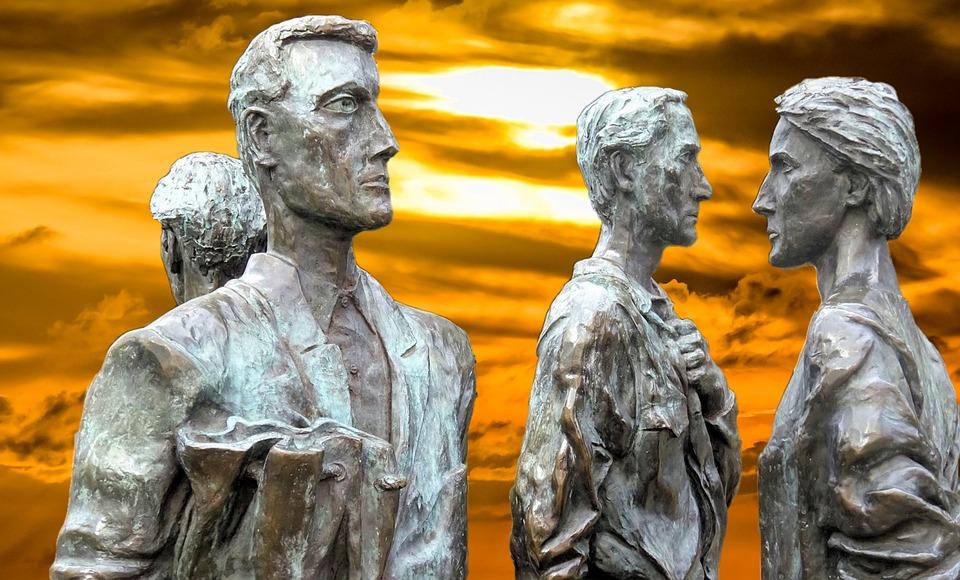 Statue, Sculpture, Art, Travel, Nottingham, Quartet