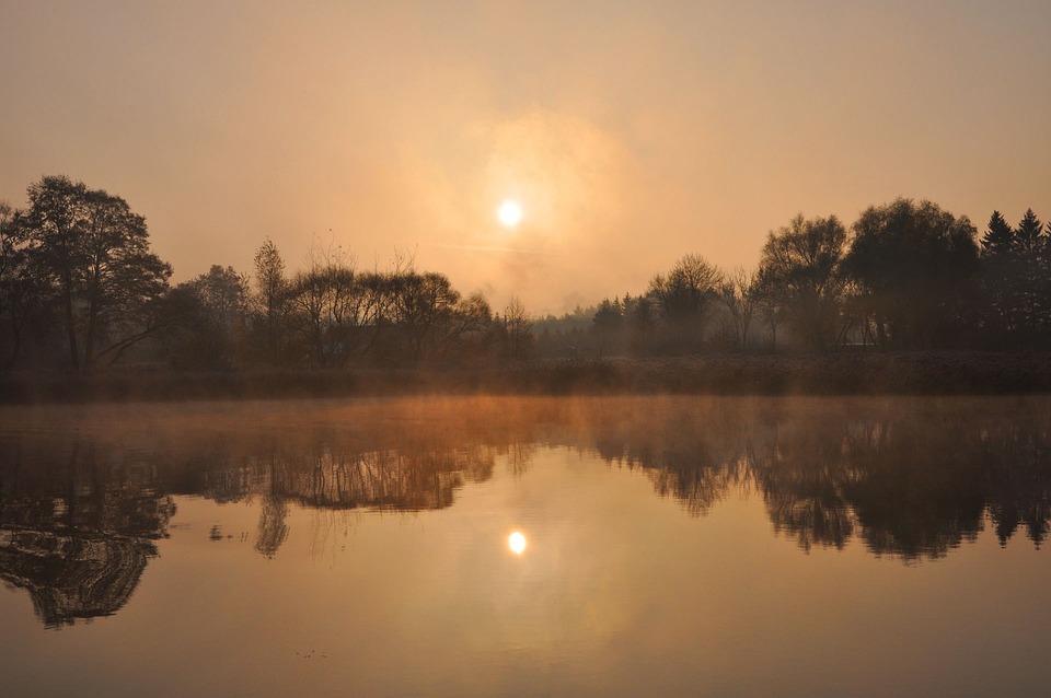 Wet Lake, November, The Fog, Morning, Autumn, Landscape