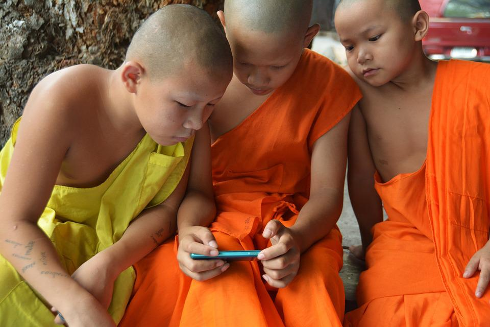 Children Learning, Video Game, Boys, Novices, Monks