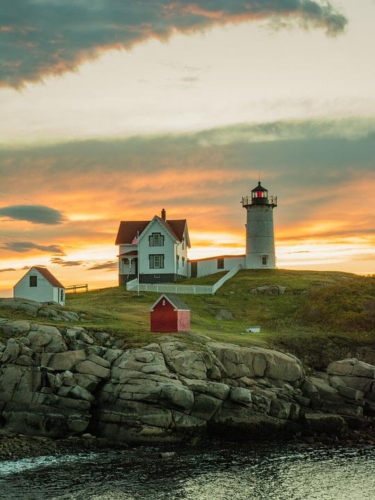 Nubble, Lighthouse, Maine, Coast, Ocean, Atlantic, Sky