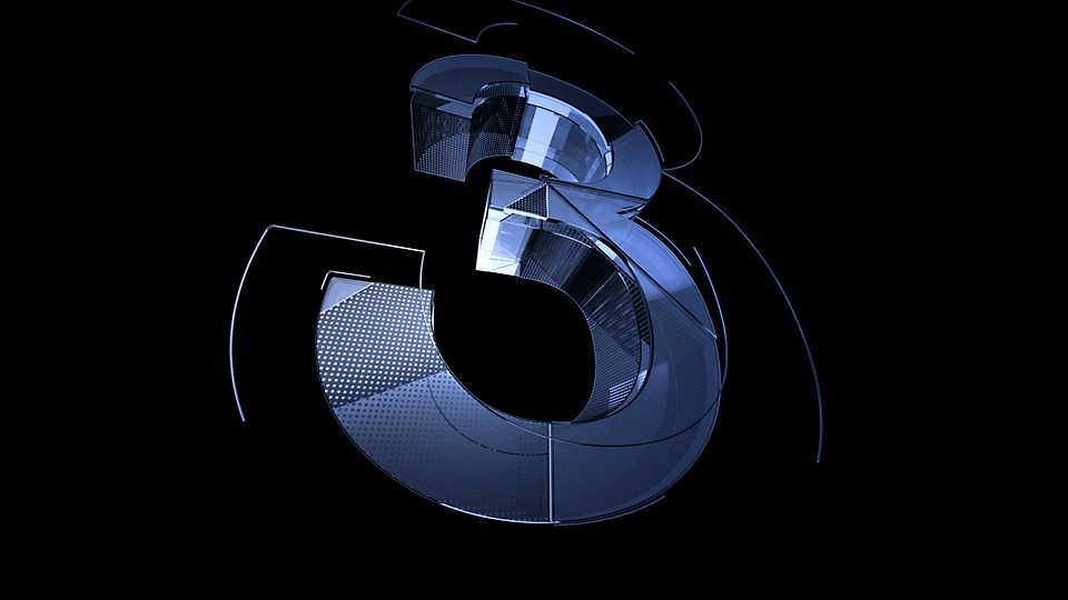 Number, Digit, Null, Three, 3, Background, Blue