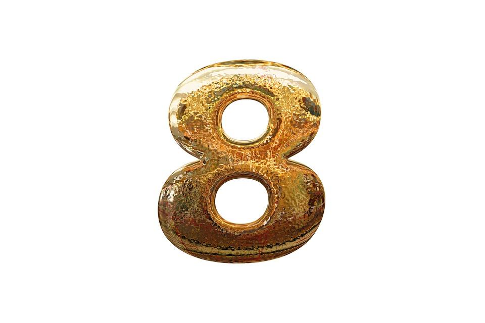 Number, Digit, Eight, 8, Golden, Glass, Volume