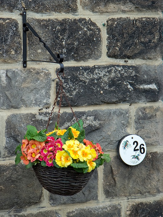 Wall, Basket, Flowers, Spring, Colorful, House, Number