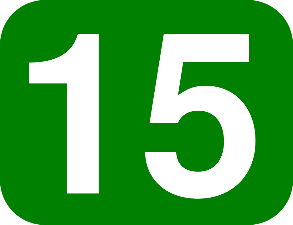 Number, 15, Rounded, Rectangle, Green, White