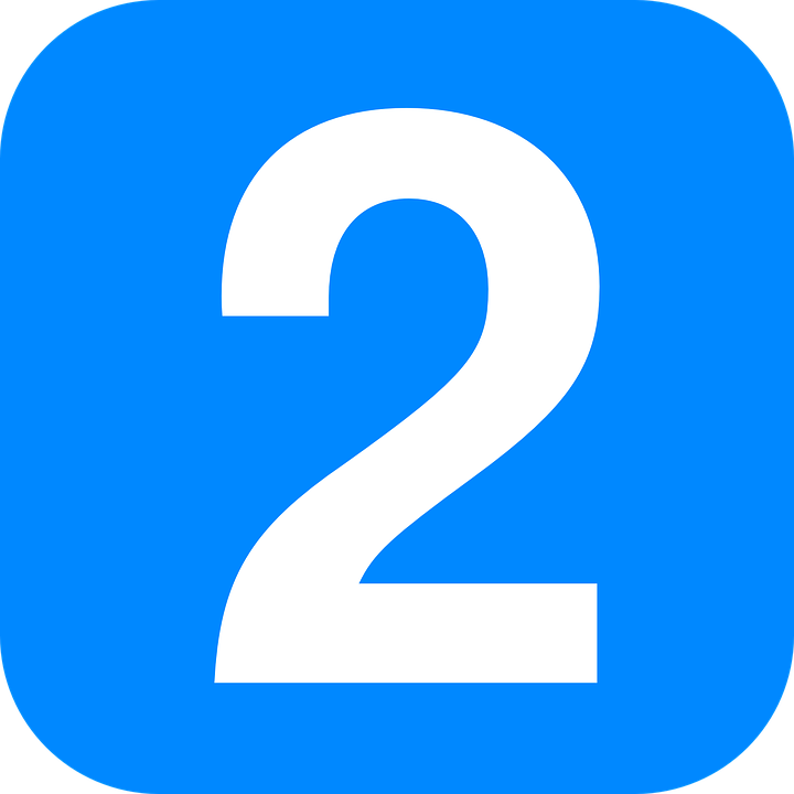 Two, Blue, Square, Rounded, Number, White, Date