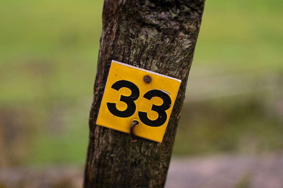 Number, 33, Post, Canal Side, Painted, Black, White