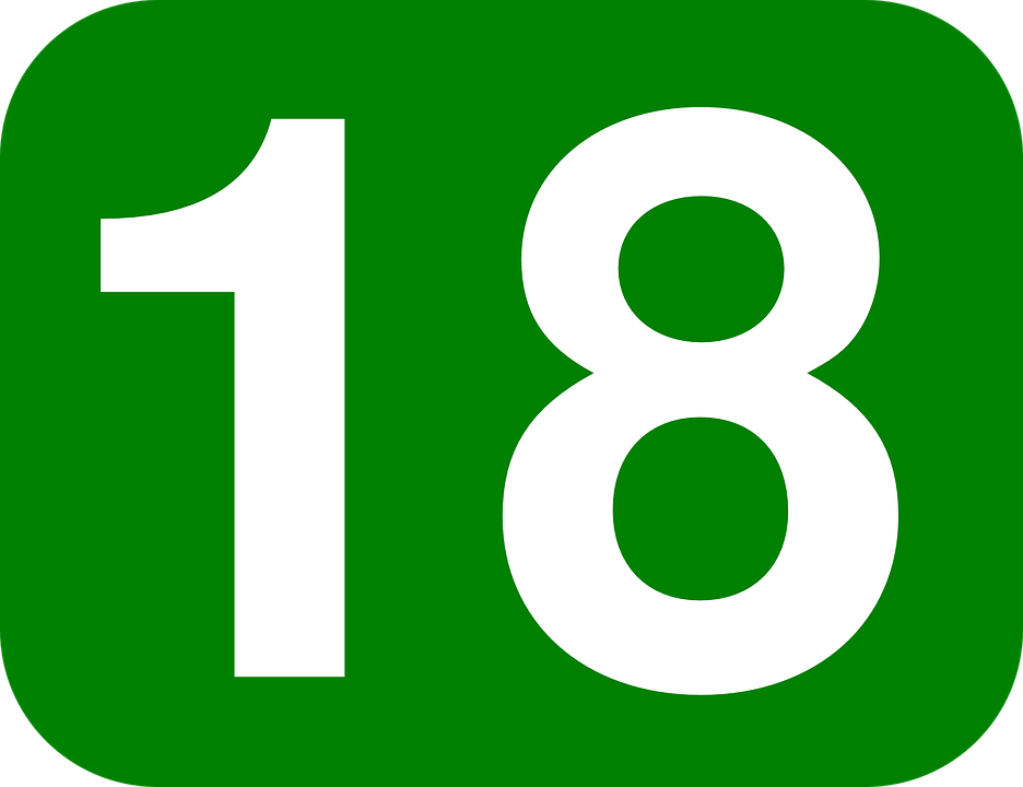 Rounded, Rectangle, 18, Number, Green, White