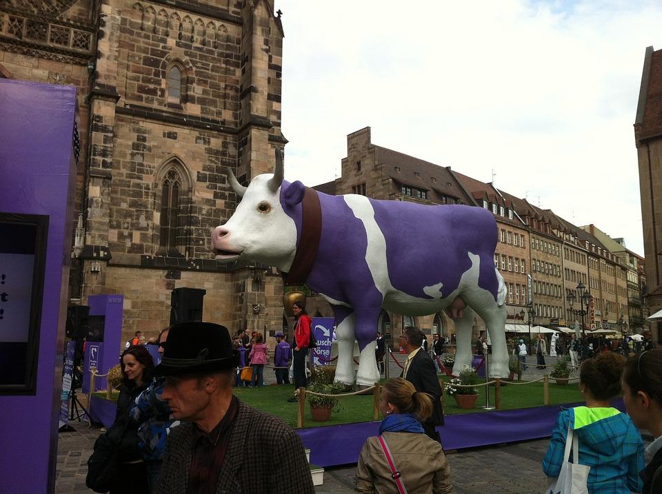 Milka Cow, Purple, Nuremberg, Cow, Animals, Milk Cow