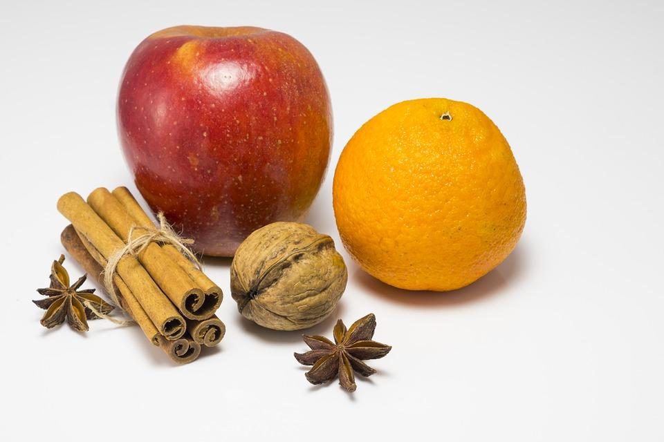 Apple, Orange, Cinnamon, Nut, Walnut, Fruit, Vitamins