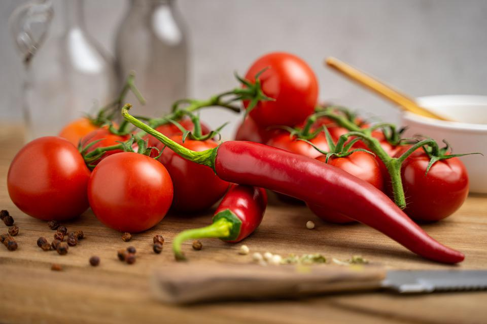 Tomatoes, Knife, Towel, Pepper, Chili, Wood, Nutrition