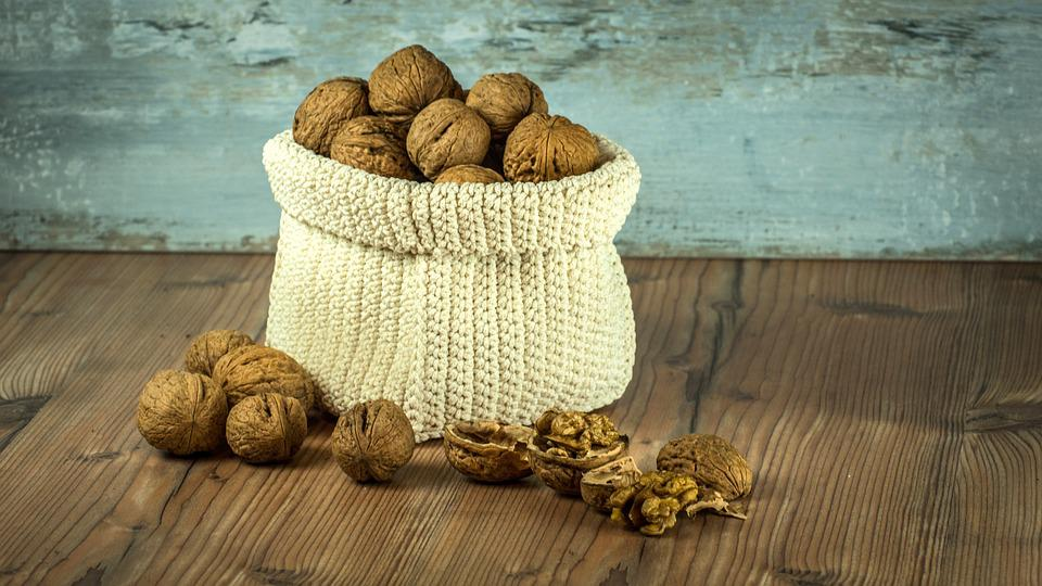 Nuts, Crop, Bag, Brown, Health, Background, Composition