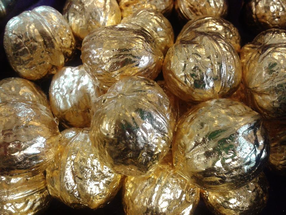 Nuts, Walnuts, Gold, Gilded, Golden Walnut, Decoration