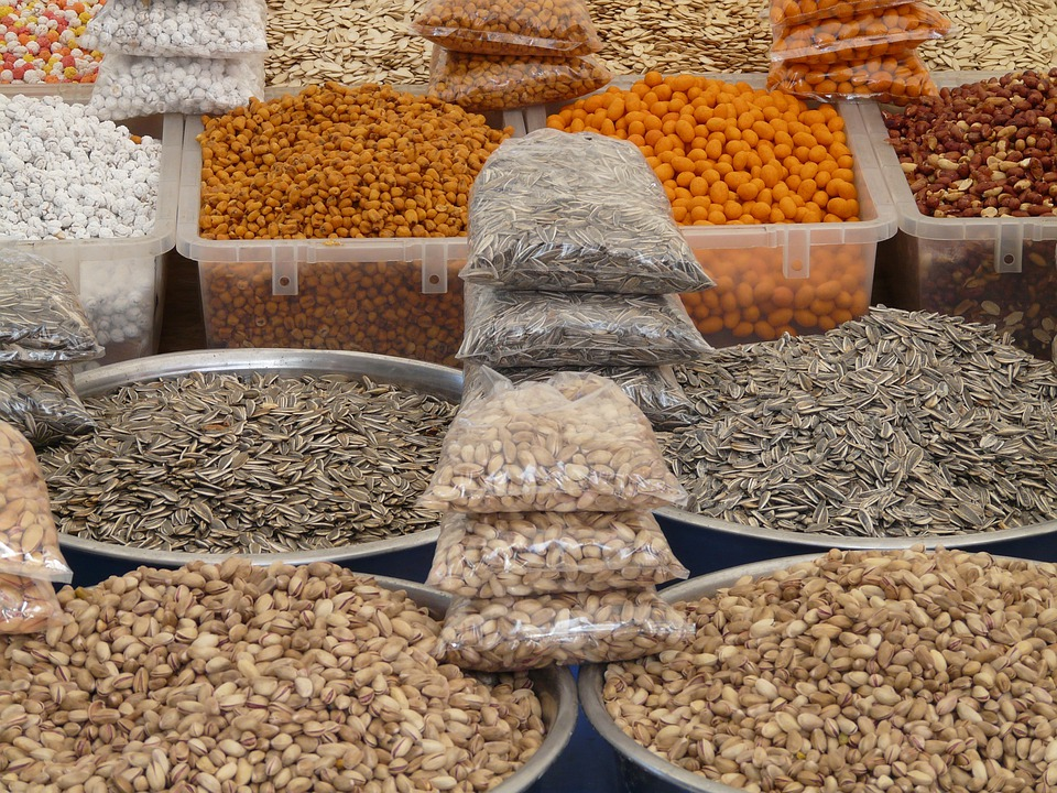 Nuts, Grains, Market, Pistachios, Sunflower Seeds