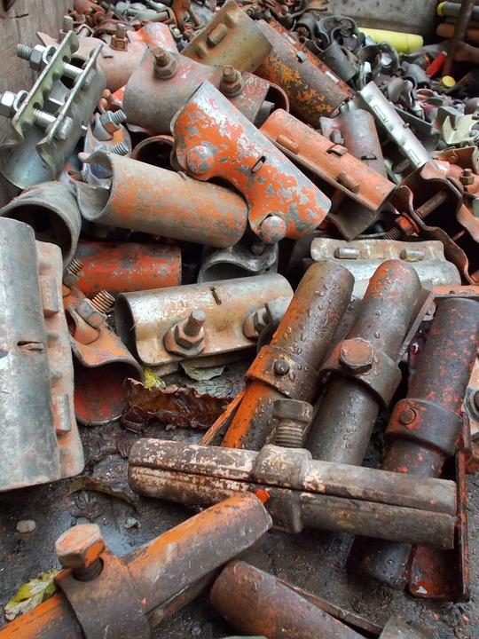 Iron, Scaffolding, Material, Orange, Nuts, Grey