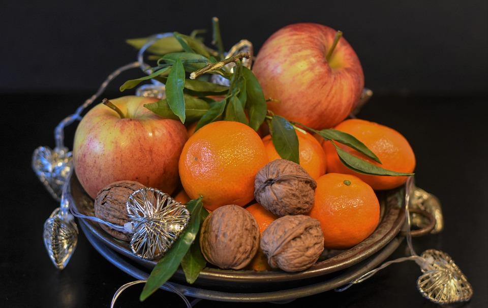 Fruit, Nuts, Still Life, Food, Tangerines, Apple
