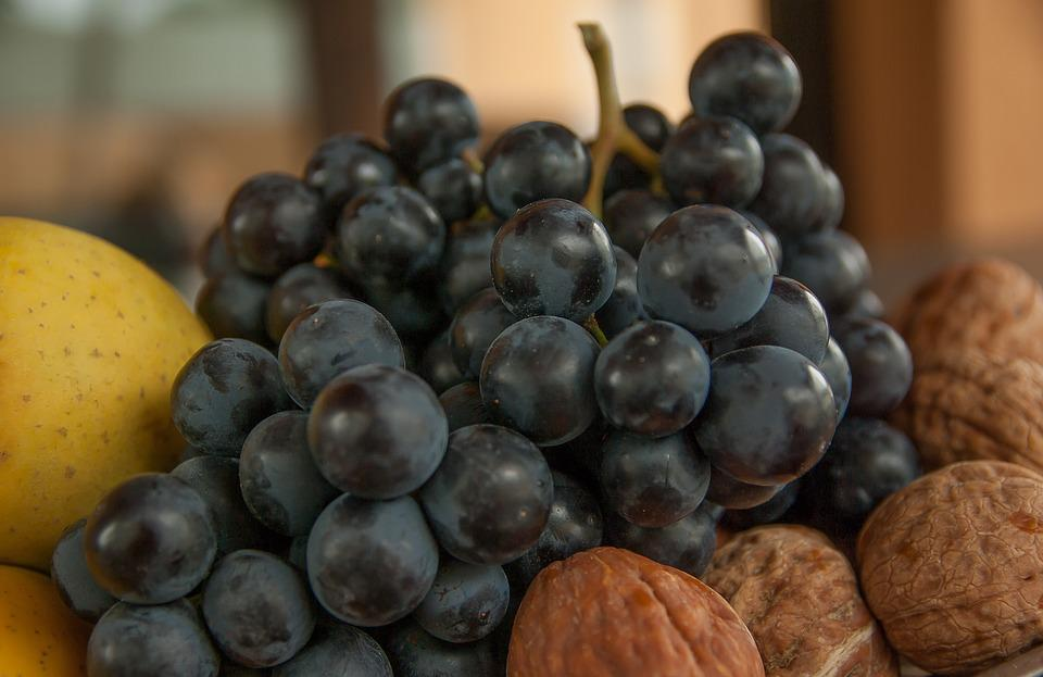 Grape, Bunch Of Grapes, Nuts, Vine