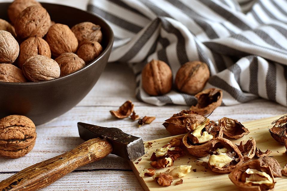 Walnuts, Cracked, Hammer, Rustic, Food, Nutshell, Nuts
