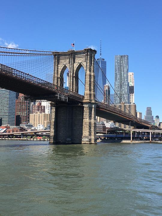 Brooklyn Bridge, Nyc, River, Manhattan, City