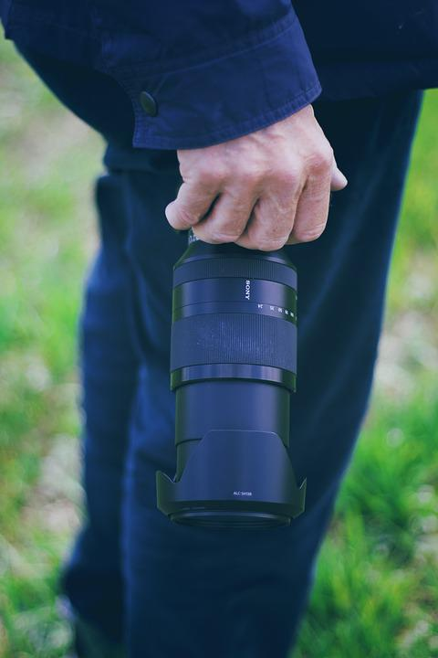 Camera, Objekiev, Person, Hand, Leg, Background, Sony